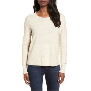 Beige Peppered Cotton Wool Mixed Stitch Sweater M
